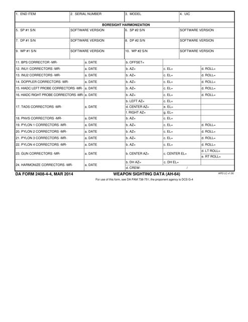 DA Form 2408-4-4  Printable Pdf