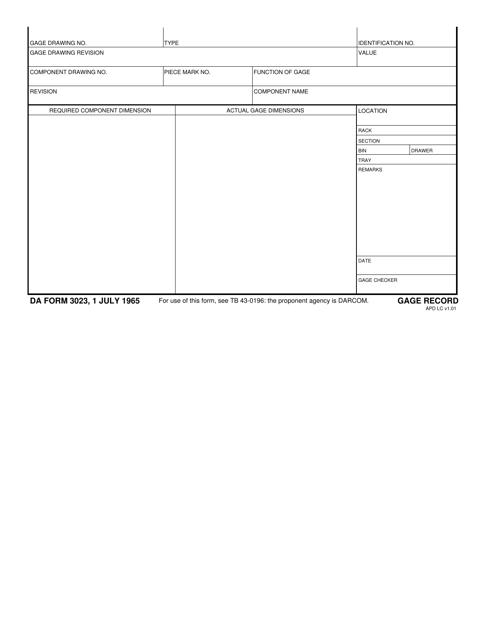 DA Form 3023  Printable Pdf
