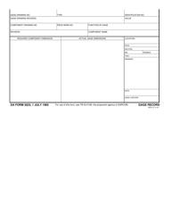 DA Form 3023 Gage Record