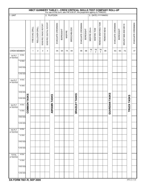 DA Form 7661-R  Printable Pdf