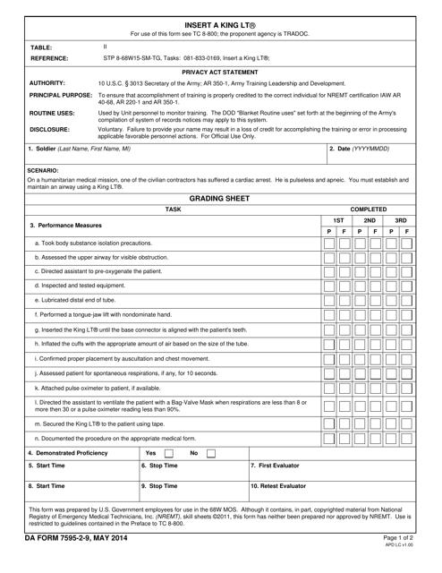 DA Form 7595-2-9  Printable Pdf