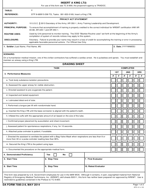DA Form 7595-2-9 Fillable Pdf