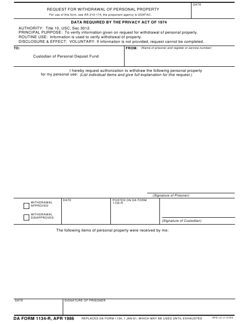 DA Form 1134-R Printable Pdf