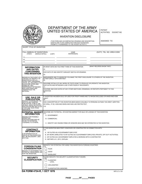 DA Form 4734-R Fillable Pdf