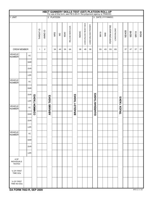 DA Form 7662-R Fillable Pdf