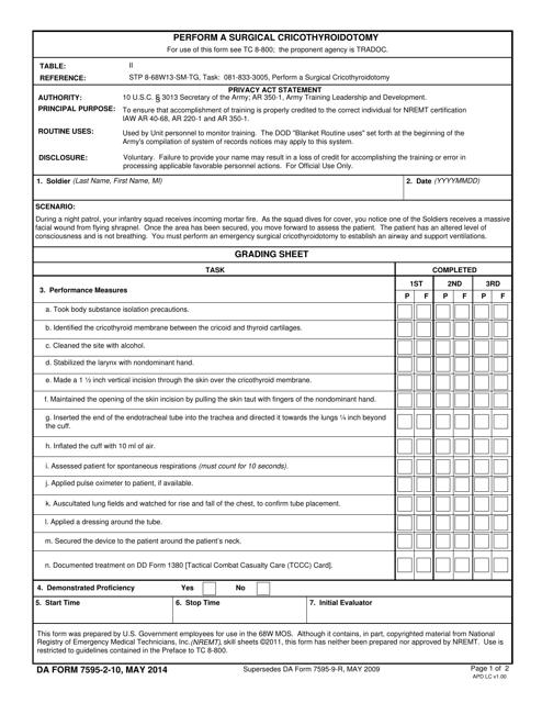 DA Form 7595-2-10  Printable Pdf