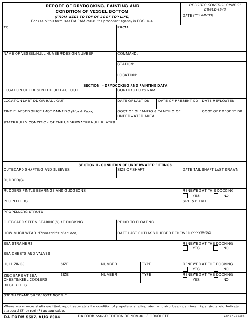 DA Form 5587  Fillable Pdf