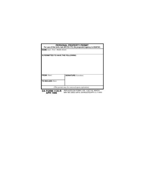 DA Form 1135-R  Printable Pdf