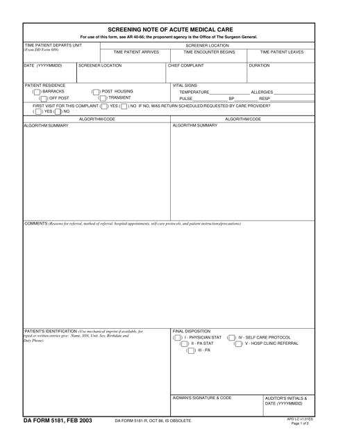 DA Form 5181  Printable Pdf