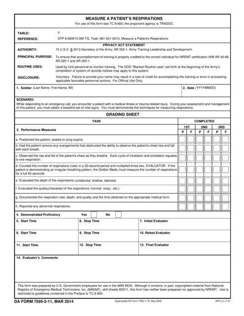 DA Form 7595-2-11  Printable Pdf