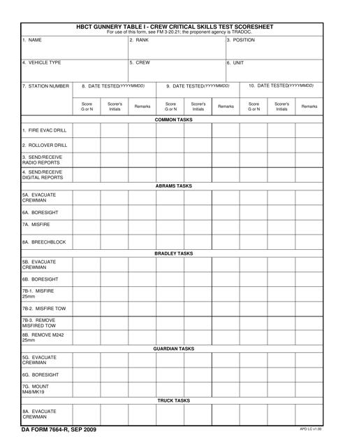 DA Form 7664-R  Printable Pdf