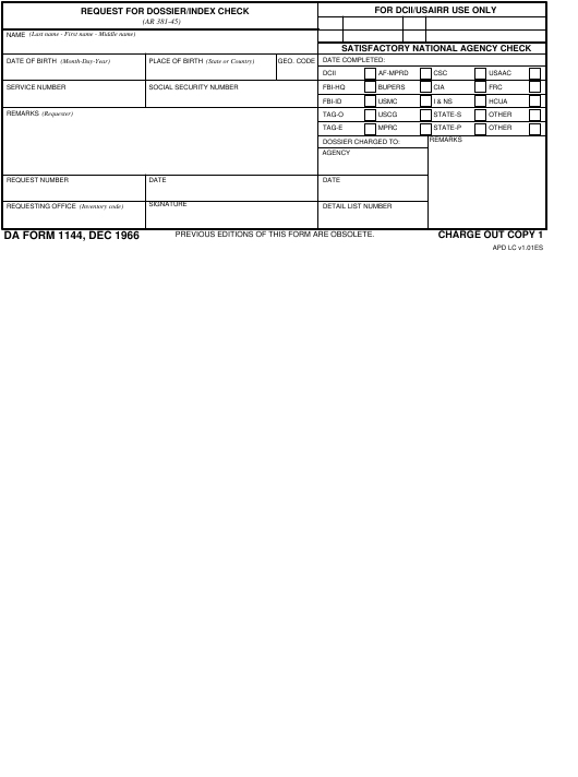 DA Form 1144 Fillable Pdf