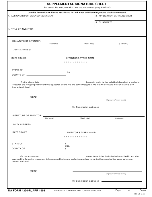 DA Form 4230-R Printable Pdf