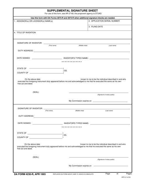 DA Form 4230-R  Fillable Pdf