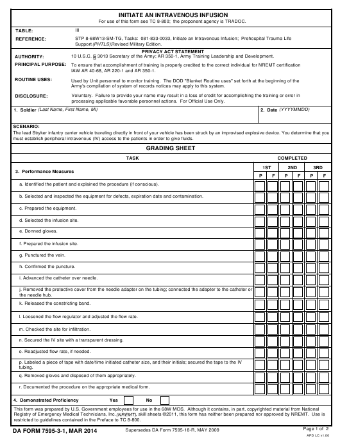 DA Form 7595-3-1 Printable Pdf