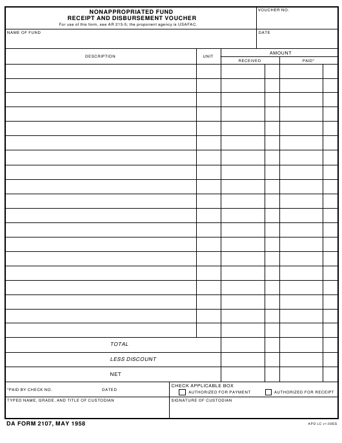 DA Form 2107  Fillable Pdf