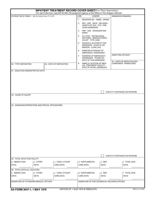 DA Form 3647-1  Fillable Pdf