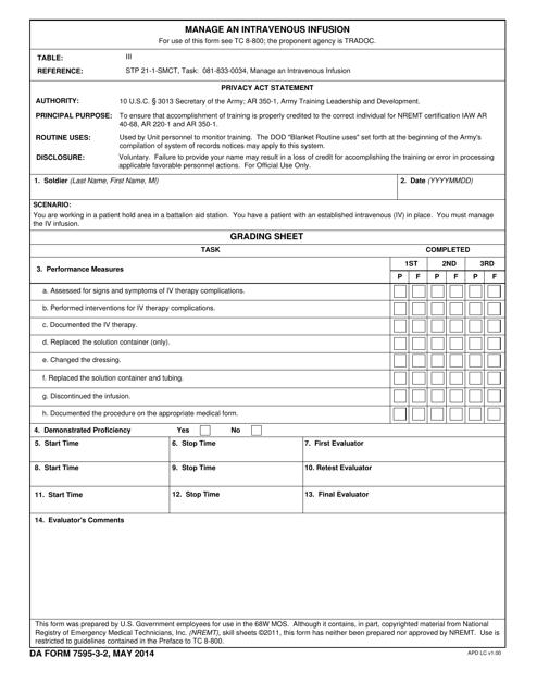 DA Form 7595-3-2  Printable Pdf