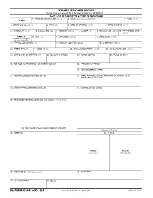 DA Form 4237-R Fillable Pdf