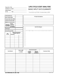 DA Form 5605-3-R Life Cycle Cost Analysis - Basic Input Data Summary (Lra)