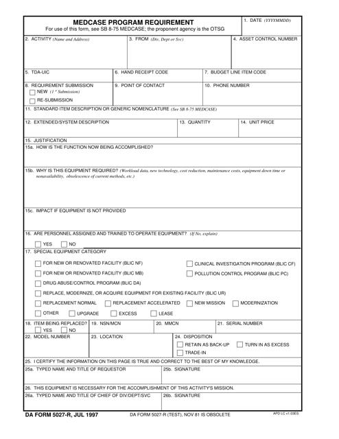 DA Form 5027-R Fillable Pdf