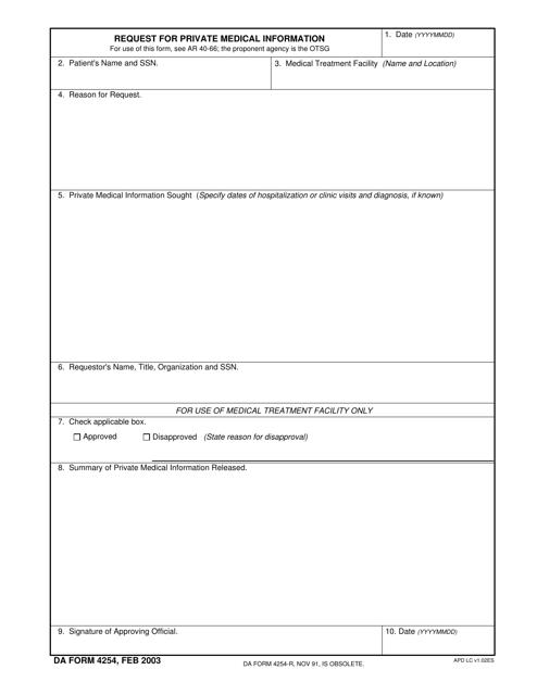 DA Form 4254 Fillable Pdf