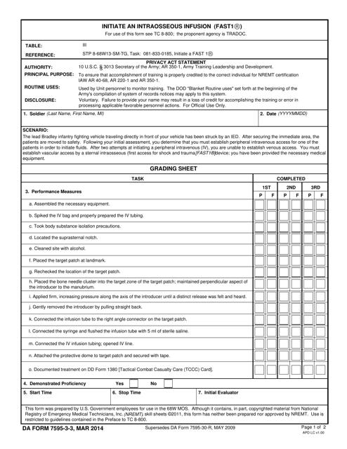 DA Form 7595-3-3 Fillable Pdf