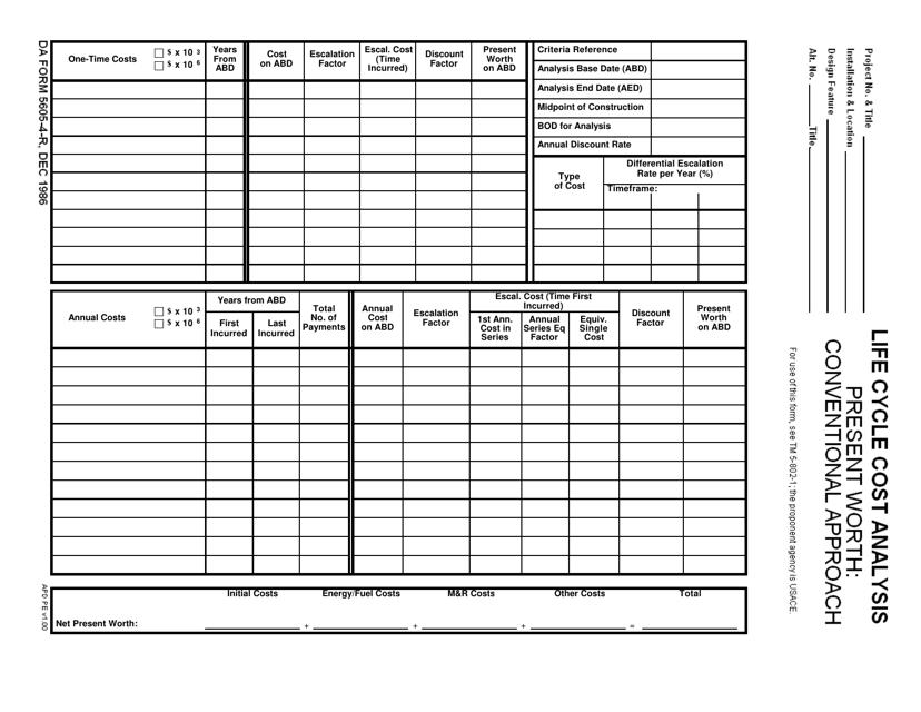 DA Form 5605-4-R Printable Pdf