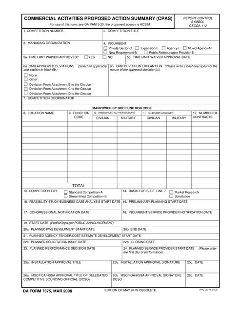 DA Form 7375 Fillable Pdf