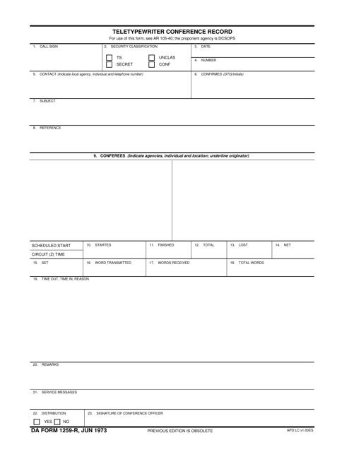 DA Form 1259-R Printable Pdf
