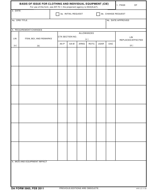 DA Form 5965 Printable Pdf