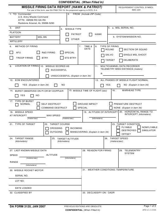 DA Form 3120  Fillable Pdf