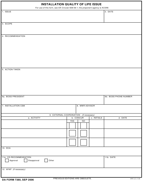DA Form 7380 Fillable Pdf