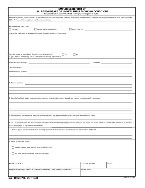 DA Form 4755 Fillable Pdf