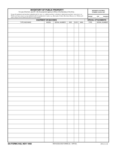 DA Form 2182  Printable Pdf