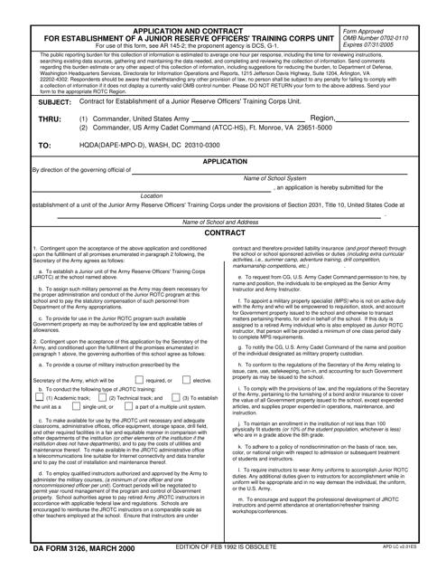 DA Form 3126 Fillable Pdf