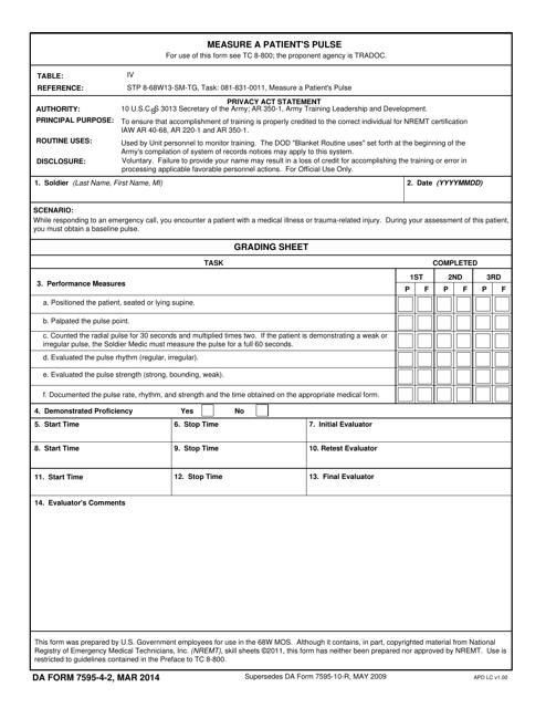 DA Form 7595-4-2  Printable Pdf