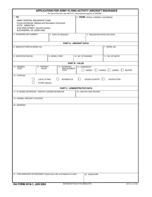 DA Form 4316-1 Fillable Pdf