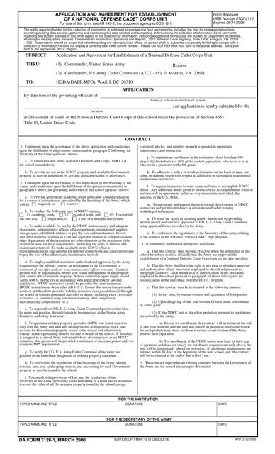 DA Form 3126-1  Fillable Pdf