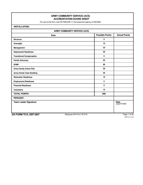 DA Form 7513  Fillable Pdf