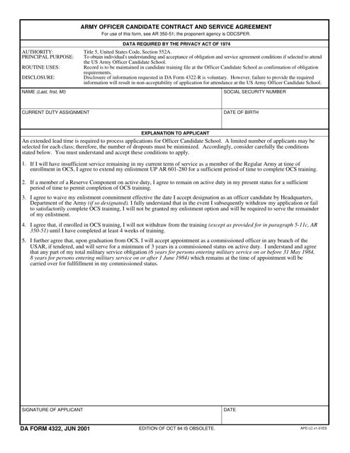DA Form 4322 Printable Pdf
