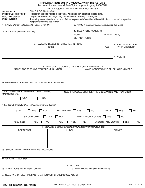 DA Form 5191 Fillable Pdf
