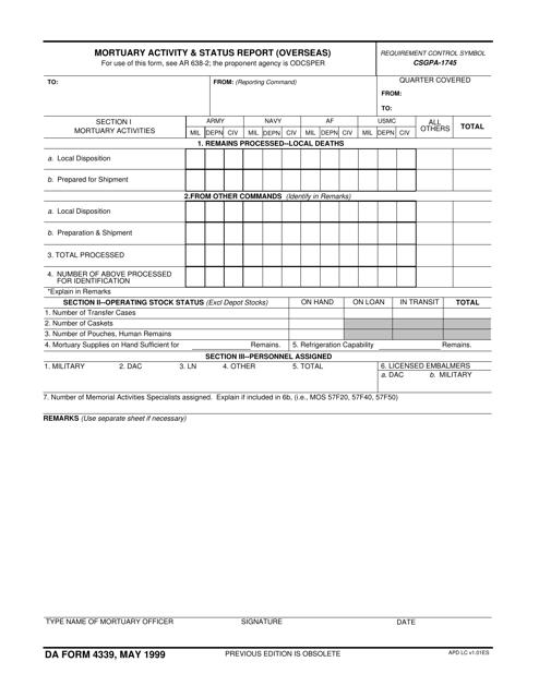 DA Form 4339 Fillable Pdf