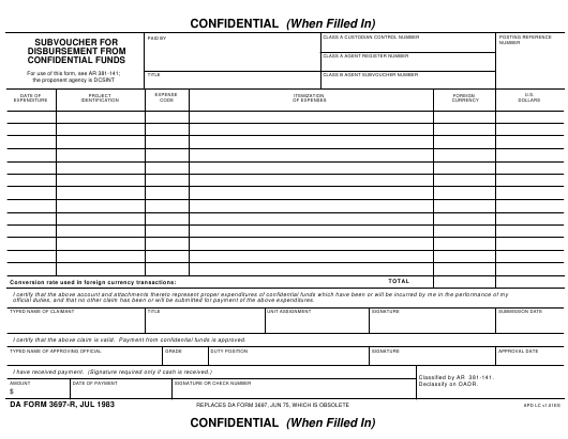 DA Form 3697-R Fillable Pdf
