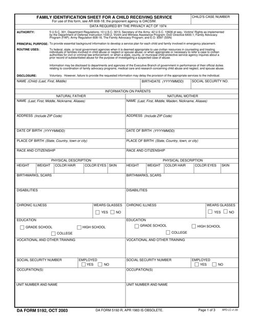 DA Form 5192 Fillable Pdf