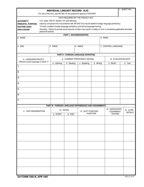 DA Form 7383-R Fillable Pdf
