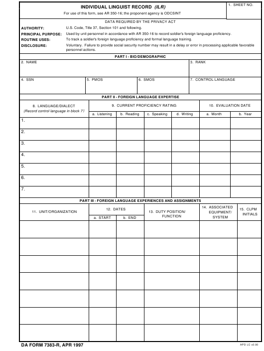 DA Form 7383-R  Fillable Pdf