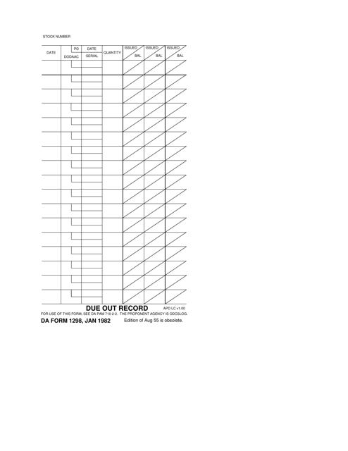 DA Form 1298  Printable Pdf