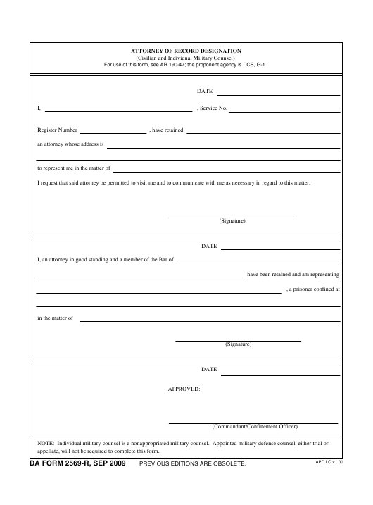 DA Form 2569-R Fillable Pdf