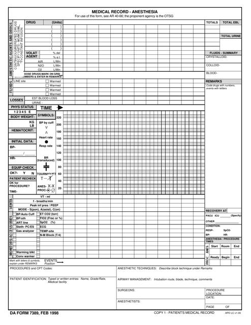 DA Form 7389  Printable Pdf
